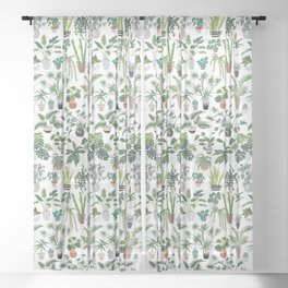 plants and pots pattern Sheer Curtain