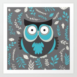 BLUE OWL AND LEAVES Art Print