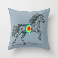 cherry Throw Pillows featuring Unicore II by Rachel Caldwell