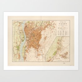 General Map of Cairo, Egypt (1920) Art Print