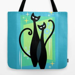 Sassy Sparkling Atomic Age Black Kitschy Cats Tote Bag
