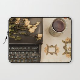 Little roses over an old typewriter and tea (Retro and Vintage Still Life Photography) Laptop Sleeve