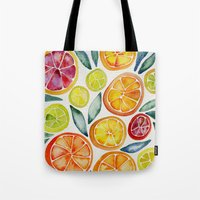 orange Tote Bags featuring Sliced Citrus Watercolor by Cat Coquillette