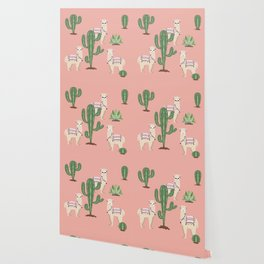 Alpaca with Cacti Wallpaper