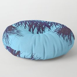 Palm Tree Leaves in Aqua Blue Tropical Sunset Floor Pillow