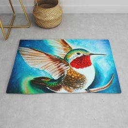 Hummingbird Landing Color Cyan Art Rug
