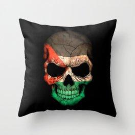 Dark Skull with Flag of Jordan Throw Pillow