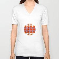 orange pattern V-neck T-shirts featuring Orange by FergusT