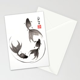 Follow the Leader - Goldfish Sumi-e Painting Stationery Cards