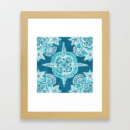 INNER MERMAID COMPASS Blue Nautical Mandala Framed Art Print