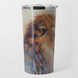 Lion sun bathing | Bain de soleil Lion Travel Mug