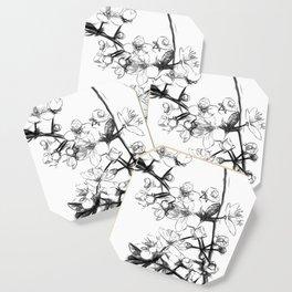 Cherry Blossoms Minimal Drawing Coaster