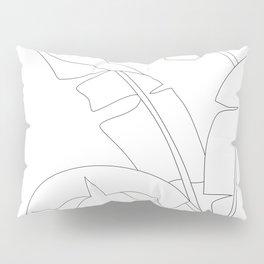Minimal Line Art Banana Leaves Pillow Sham