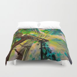 Rays through redwood forest Duvet Cover