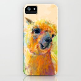 Colorful Happiness - Alpaca digital painting iPhone Case