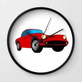 Red Sports Car Illustration Wall Clock