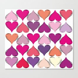 colerfull hearts Canvas Print