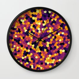 Stained glass colorful voronoi, vector eps abstract. Irregular cells background pattern. 2D Geometri Wall Clock