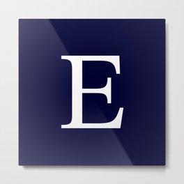 Navy Blue Basic Monogram E Metal Print