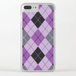 Purple Argyle Clear iPhone Case