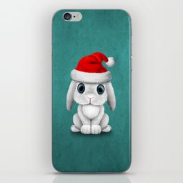 White Floppy Eared Baby Bunny Wearing a Santa Hat iPhone Skin