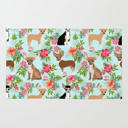 Chihuahua floral tropical hawaii floral hibiscus dog breed dogs pets Rug