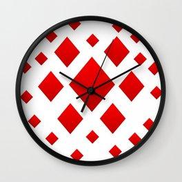 LOTS OF DECORATIVE RED DIAMONDS Wall Clock