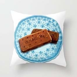 Bourbon biscuits on a plate for tea time Throw Pillow