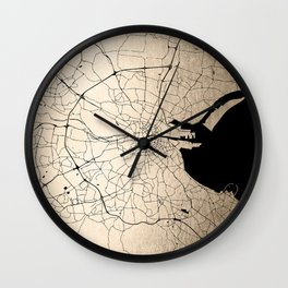 Dublin Street Map Deep Gold Wall Clock