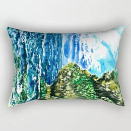 Bali Balangan beach watercolor painting ocean landscape Rectangular Pillow