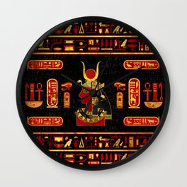 Hathor Egyptian Ornament Gold and Red glass Wall Clock