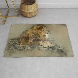 Lion on the rocks Rug
