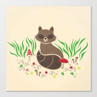 raccoon Canvas Prints featuring Raccoon by Lynette Sherrard Illustration and Design
