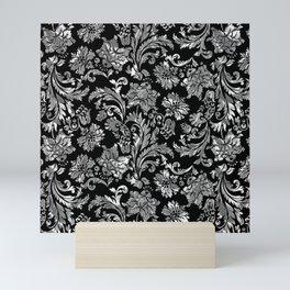 Black & Silver Vintage Floral Damasks Pattern Mini Art Print