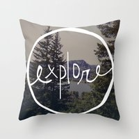 oregon Throw Pillows featuring Explore Oregon by Leah Flores