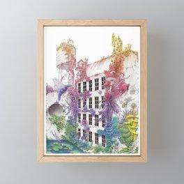 Water - Rainbow City - Watercolor Painting Framed Mini Art Print