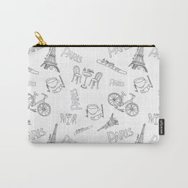 Paris Life - Black on White Carry-All Pouch