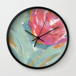 Duck Egg Rose Wall Clock