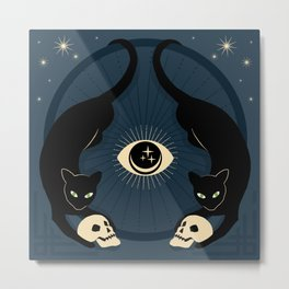 Midnight Cats Doing Their Dark Business Metal Print