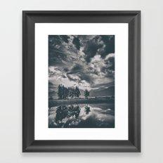 Black and white lake Framed Art Print