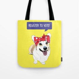 Political Pups - Register To Vote Corgi Tote Bag