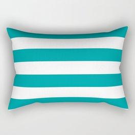 Horizontal Stripes Pattern: Teal Rectangular Pillow