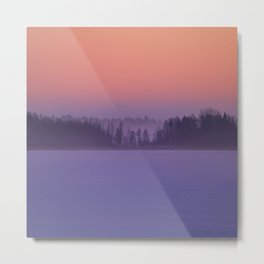 Foggy Winter Evening With Beautiful Sunset Colors In The Sky #decor #buyart #society6 Metal Print