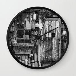 B&W Fishing Shack Wall Clock