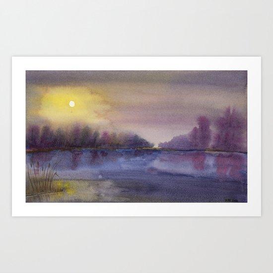 Painting: Sun breaking through the mist #3, Purple Lake  Art Print
