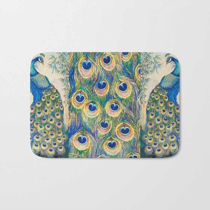 Blue Peacocks Bath Mat