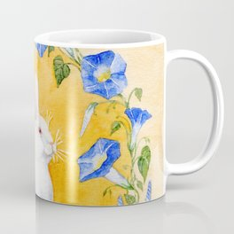 White Rabbit in Blue Flowers Coffee Mug