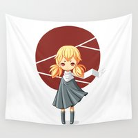 tokyo Wall Tapestries featuring Tokyo Girl by Freeminds