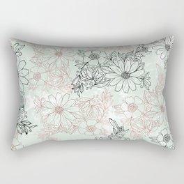 Mint black faux rose gold floral marble Rectangular Pillow