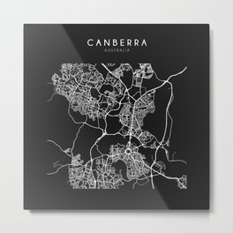 Canberra, Australia Street Map Metal Print